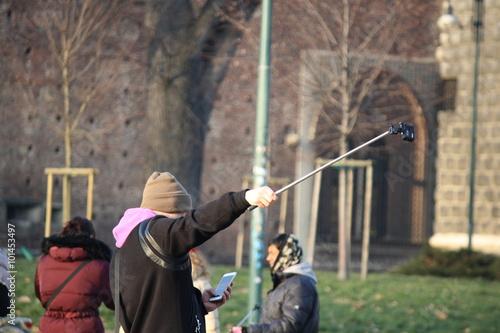 Fotografie, Obraz  Selfie with a Selfie Stick