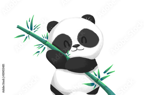 Illustration Cute Panda Baby With Its Bamboo Food Realistic