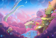 Creative Illustration And Innovative Art: A Fantastic WonderLand! Realistic Fantastic Cartoon Style Artwork Scene, Wallpaper, Story Background, Card Design