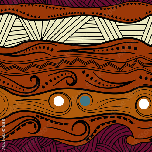 Fotografie, Obraz Abstract seamless pattern with African motifs. Vector illustrati