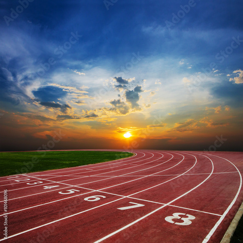 Athlete Track or Running Track with nice scenic Wall mural