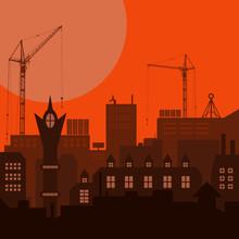 Industrial European Vintage Styled City Under Construction On Orange Sunset Background. Vector Illustration