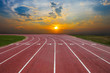 canvas print picture - Athlete Track or Running Track with nice scenic
