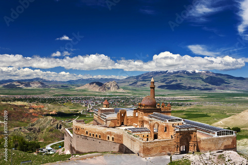 Printed kitchen splashbacks Turkey Turkey. Doğubeyazıt. Ishak Pasha Palace (İshak Paşa Sarayı) - general view. There is a modern city in background