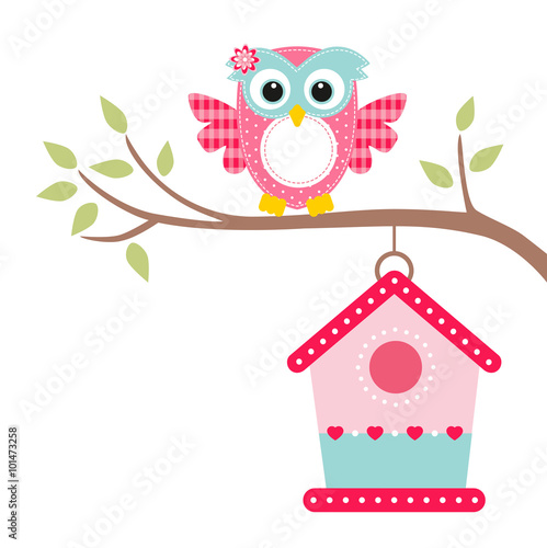 Foto op Plexiglas Uilen cartoon owl on a branch and bird house