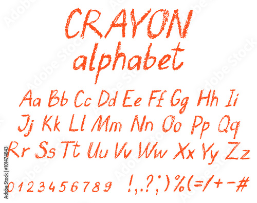 Crayon child's drawing alphabet. Pastel chalk font. ABC drawing letters. Kids drawn red