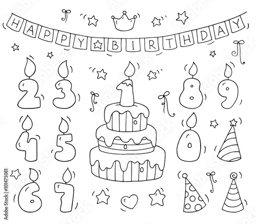 Cute Number Shaped Candles Set Cartoon Birthday Cake And Lighting In The Form Of Numbers Doodle Collection For Party Kids Designinvitations