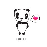 Greeting card for Valentine's Day, Mother's Day, birthday with panda and pink watercolor heart.  - 101476446
