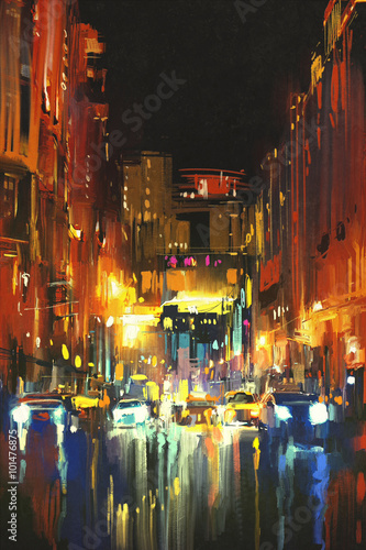 night city in the rain with reflections on wet street,digital painting - 101476875