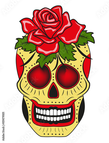 A Skull With A Rose Vector Isolated On White For Tattoo Teschio Con