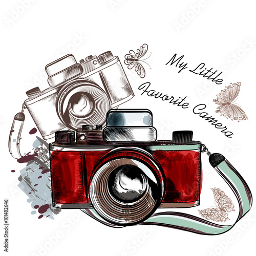 Fotografie, Obraz  Cute hand drawn vintage camera vector illustration