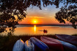 canvas print picture - sunset Canoe