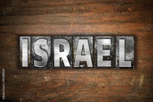 Fotobehang Midden Oosten Israel Concept Vintage Letterpress Type