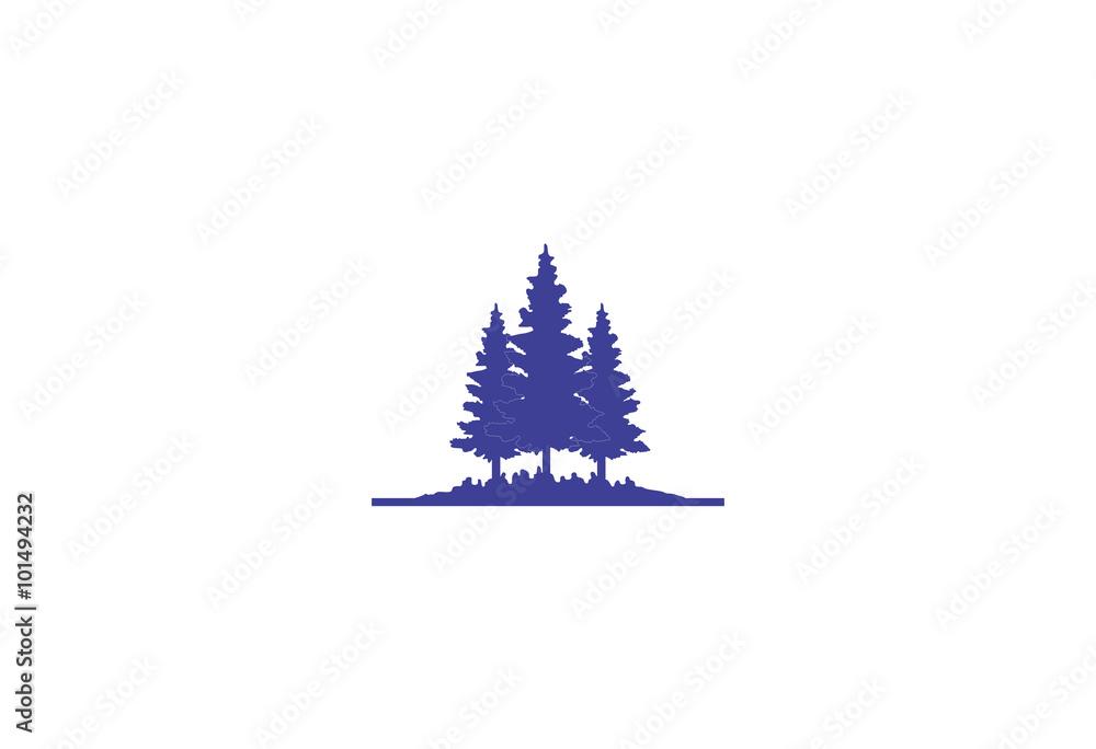 Fototapety, obrazy: blue pine forest silhouette logo
