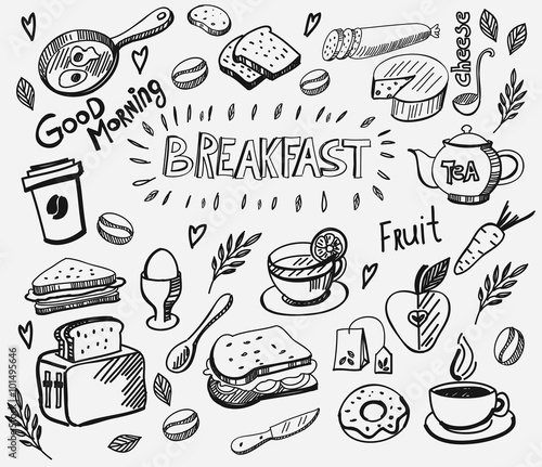 Canvastavla vector breakfast and morning icon set