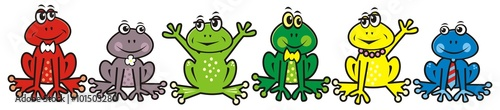group of frogs, crazy animals, vector illustration Poster Mural XXL