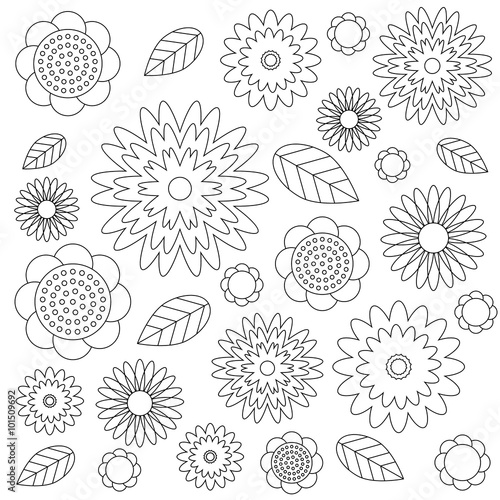 vector adult coloring book page irregular floral pattern ...
