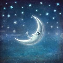 Obraz na płótnie Canvas Night time with stars and moon ,background
