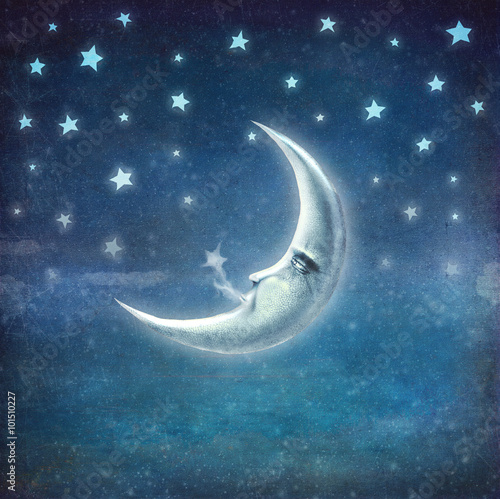 Night time with stars and moon ,background