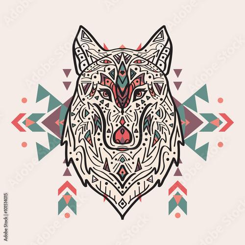 wektorowa-kolorowa-ilustracja-plemienny-stylowy-wilk-z-etnicznymi-ornamentami-motywy
