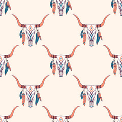 Naklejka Boho Vector tribal seamless pattern with bull skull and ethnic feathers. Boho style. American indian motifs.