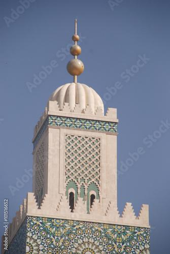 Fotografie, Obraz  Marokko - Minarett der Moschee Hassan II. v Casablance