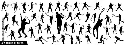 Tennis silhouettes, Vector set of tennis players Canvas Print