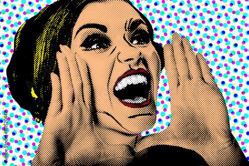Zdjęcie XXL Kobieta komiks stylu pop-artu, plakat retro