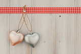 Hearts shape on vintage wood background, Celebration