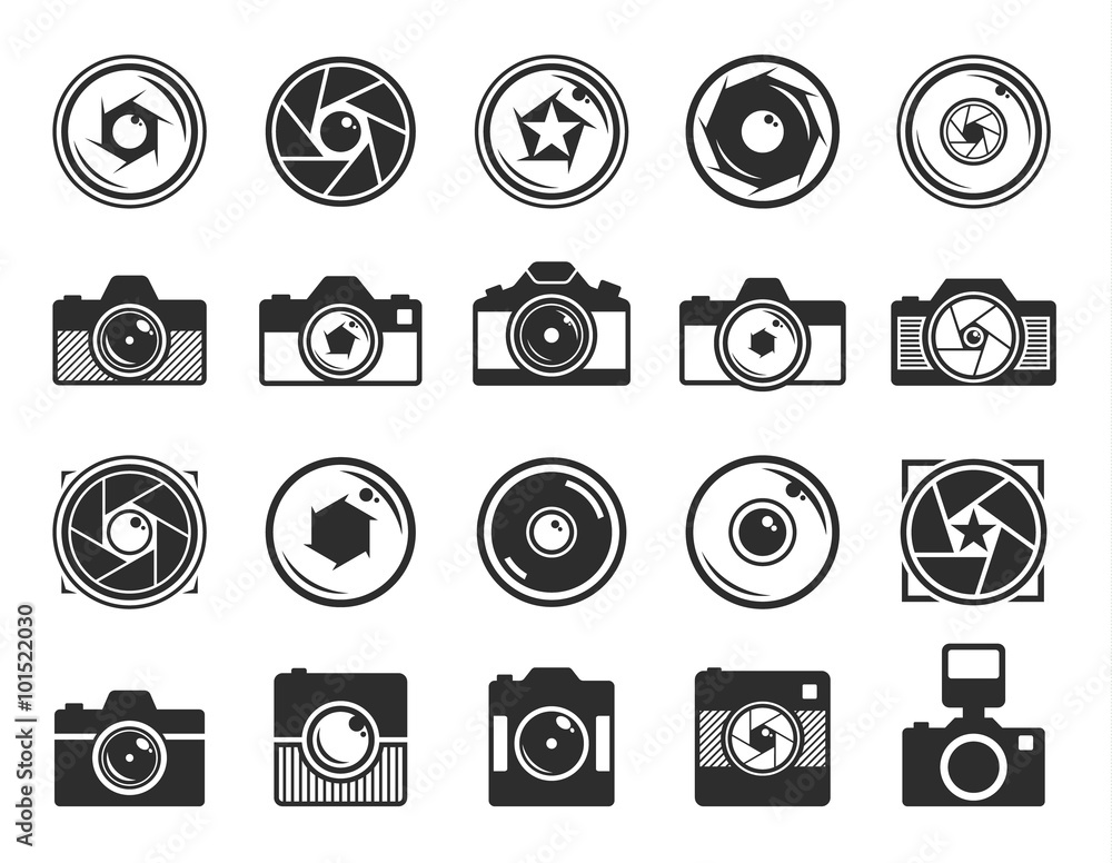 Fototapety, obrazy: Camera shutter and photo camera icons isolated on white