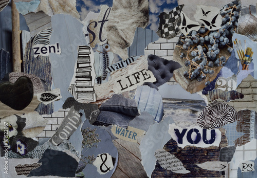 Foto auf Gartenposter Schmetterlinge im Grunge mood board ,collage atmosphere sheet with natural elements with ice blue, white, black and gray, and blue with hearts , butterflies, flowers and books