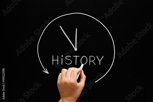 Foto  History Arrow Clock Concept Blackboard