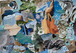 Leinwandbild Motiv Nature Atmosphere color petrol blue, grey, yellow, brown, black mood board collage sheet made of teared magazine paper with figures, letters, colors and textures, results in art