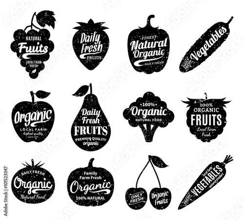 Fruits and Vegetables Logo, Fruits and Vegetables Icons and Design Elements Fototapete