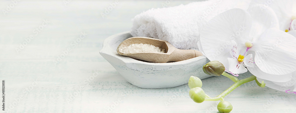 Fototapeta Spa still life with bath salt