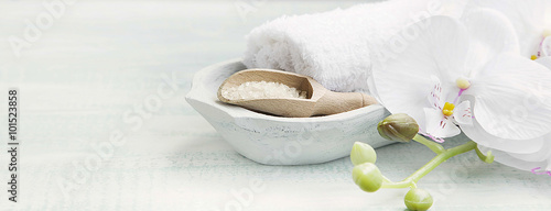Staande foto Spa Spa still life with bath salt