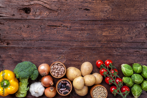 Valokuva  Fresh and healthy organic vegetables and food ingredients