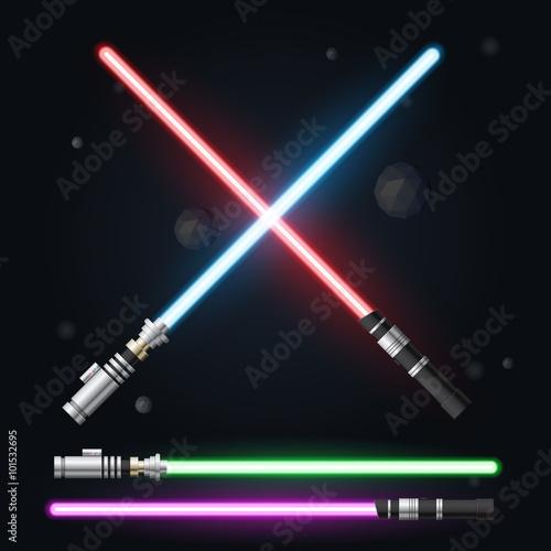Fotografía  Red, blue  green and purple light swords. Vector illustration.