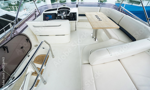 Interior of luxury yacht with driving place. Cruise vacation