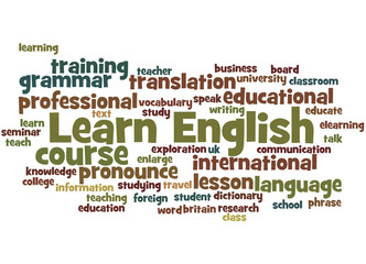 FototapetaLearn English, word cloud concept 7