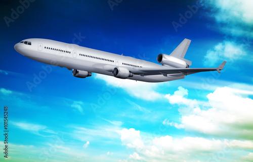 Papiers peints Avion, ballon Passagierflugzeug am Himmel