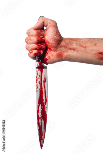 Fotografía Male hand with bloody knife