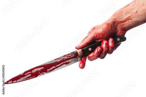 Fotografie, Obraz  Muž ruce s krvavým nožem