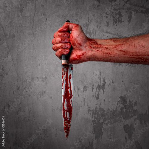 Leinwand Poster Male hand with bloody knife