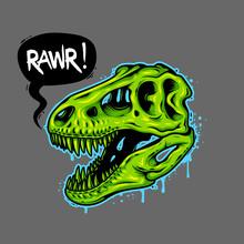 Illustration Of Dinosaur Skull