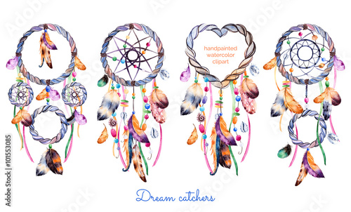 Hand drawn illustration of 4 dreamcatchershnic illustration with hand drawn illustration of 4 dreamcatchershnic illustration with native american indians watercolor dreamcatcher m4hsunfo