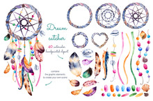 Watercolor Hand Painted Collection With 40 Elements:feathers,ribbons,shells,beads,strings Of Pearls And Other Decorations   1 Dream Catcher Pre-made For Use.Create Your Own Dreamcatcher!Hand Drawn Set