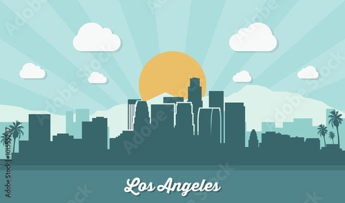 Photo  Los Angeles skyline - flat design