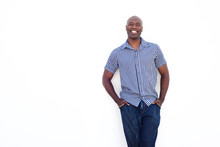Happy African Man Standing Against White Background