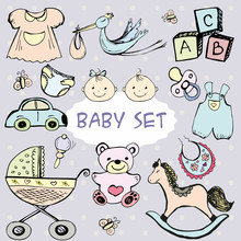 Newborn Baby Set With Cute Icons.